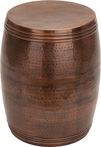 Hammered Dark Bronze Metal Barrel Accent Table, 14 x 19