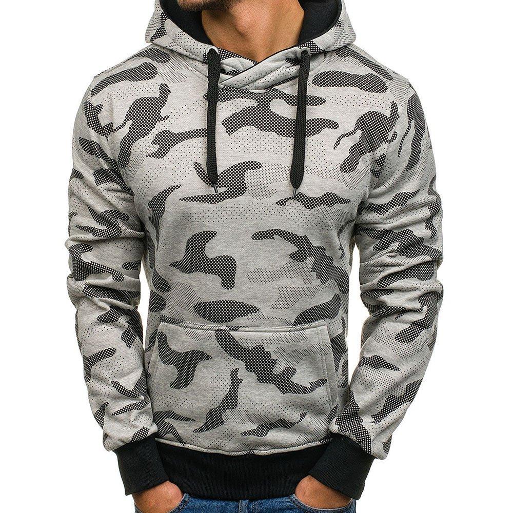 LITTHING Pocket Military Hooded Sweatshirt Mens Camouflage Pullovers Casual Fleece Hoodie