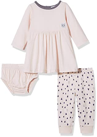 529ea35b Amazon.com: Silly Apples Baby Girls Cotton Blend 2-Piece Long Sleeve Dress,  Pant and Diaper Cover Outfit Set: Clothing