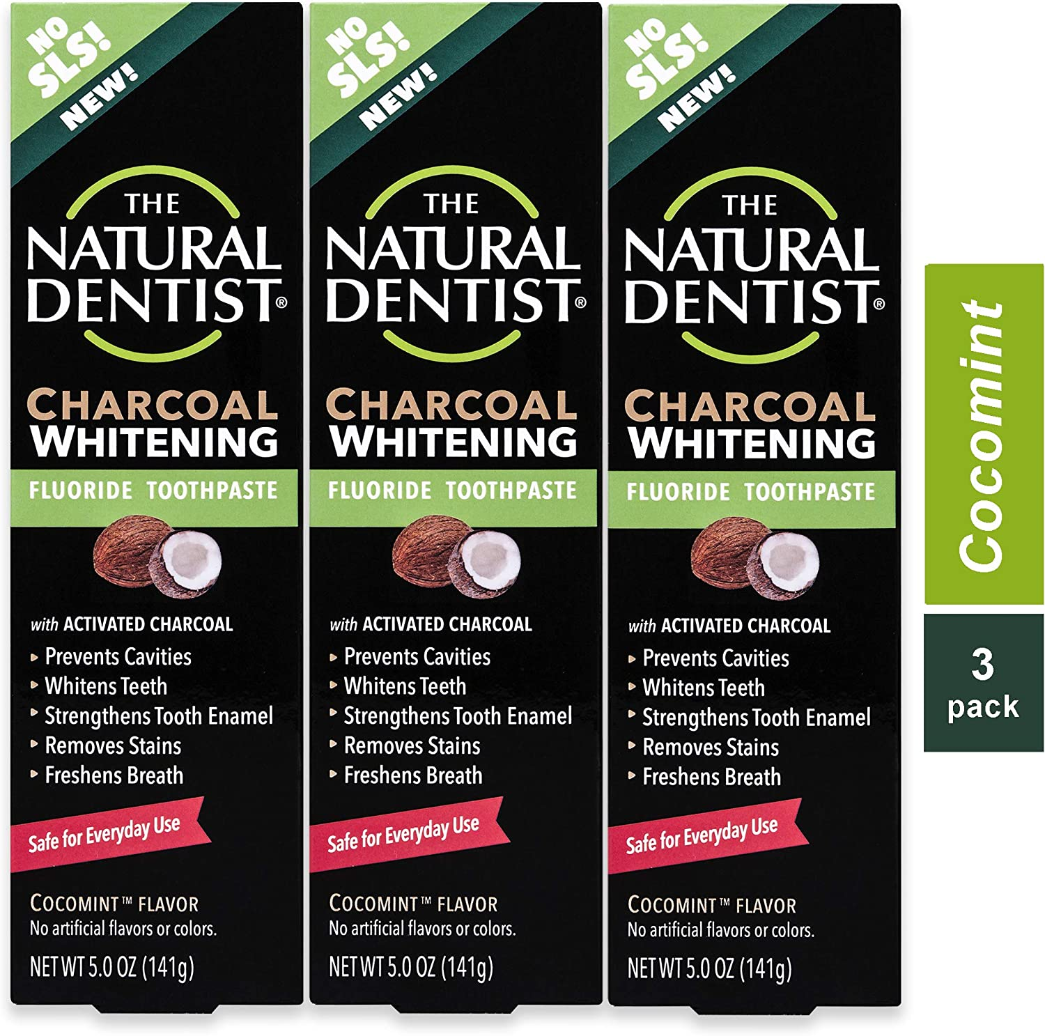 The Natural Dentist Charcoal Fluoride Safe to Use Toothpaste, 5 Ounce (Pack of 3)