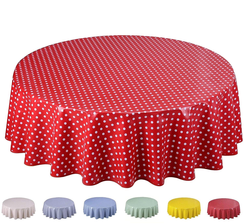 Home Direct Nappe Toile cir/ée PVC Ronde 140 cm Petit Pois Beige
