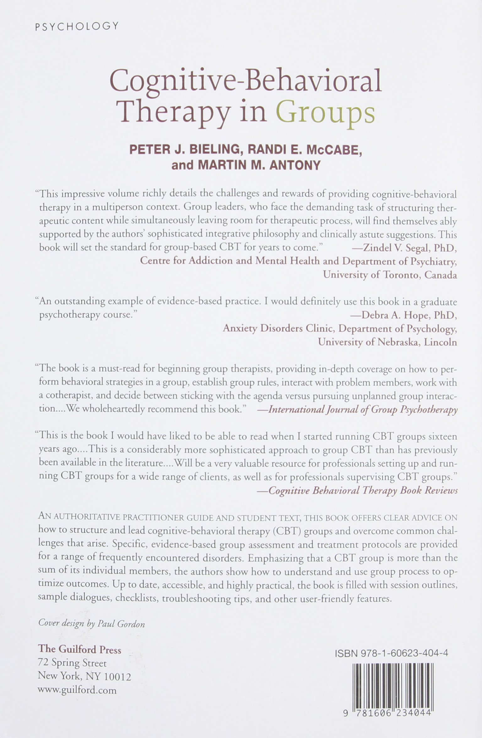 Cognitive Behavioral Therapy In Groups Amazon Peter J