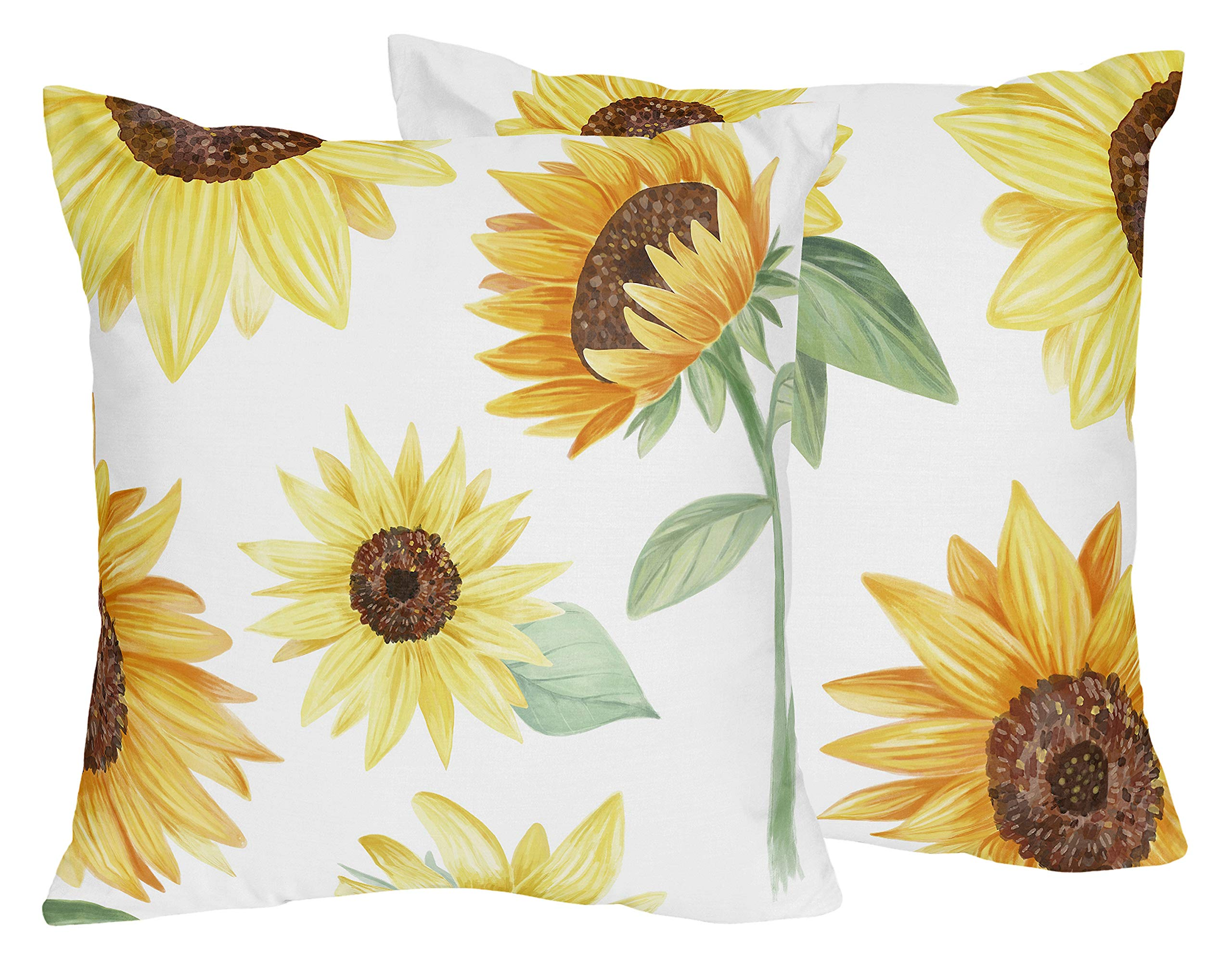 Sweet Jojo Designs Yellow, Green and White Sunflower Boho Floral Decorative Accent Throw Pillows - Set of 2 - Farmhouse Watercolor Flower, 18 in. x 18 in. Each in. Each, Orange