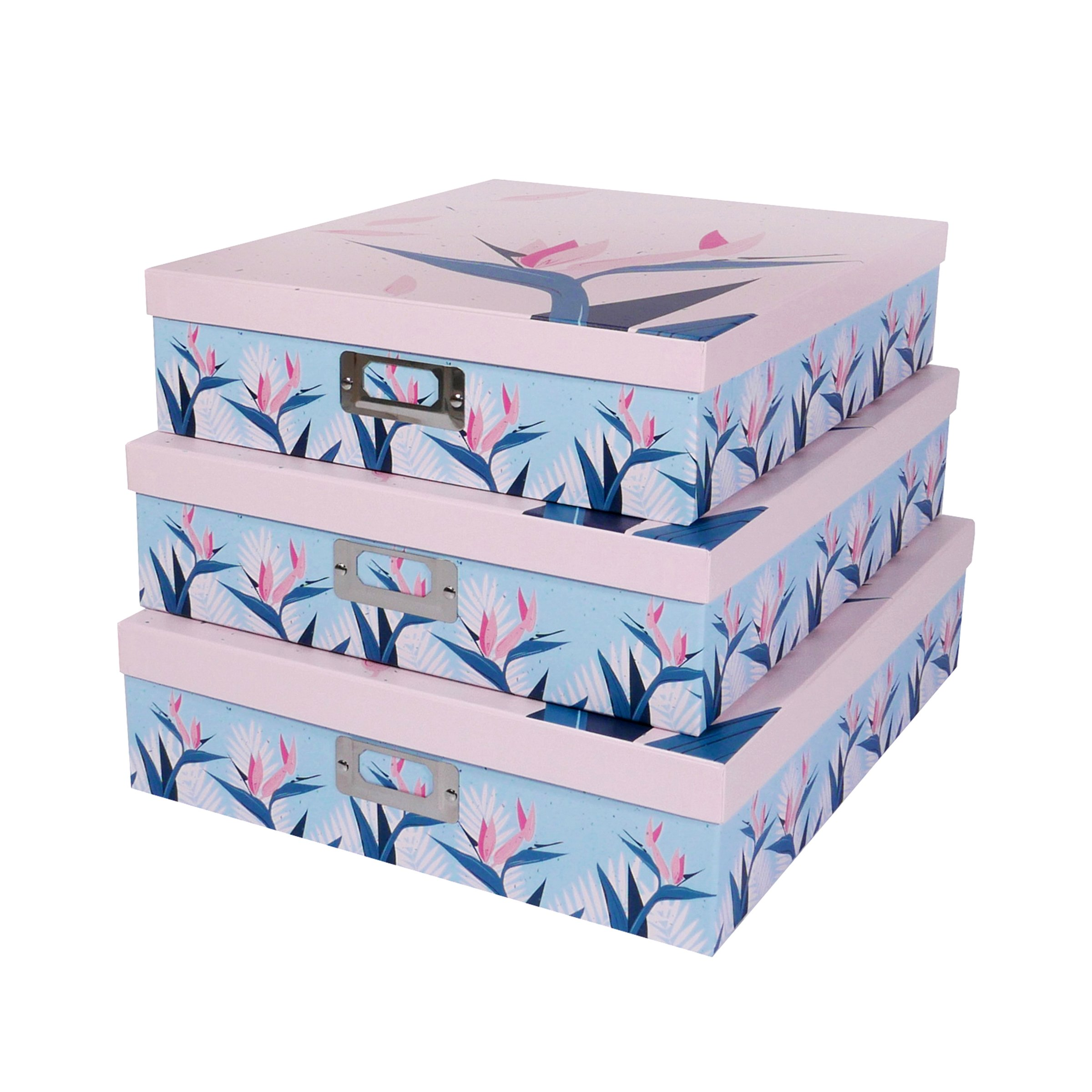 SLPR Office Storage Cardboard Boxes with Metal Plate (Set of 3, Tropical)   Nesting Gift Boxes with Lid for Keepsake Toys Photos Memories Closet Nursery Office Bedroom Decoration