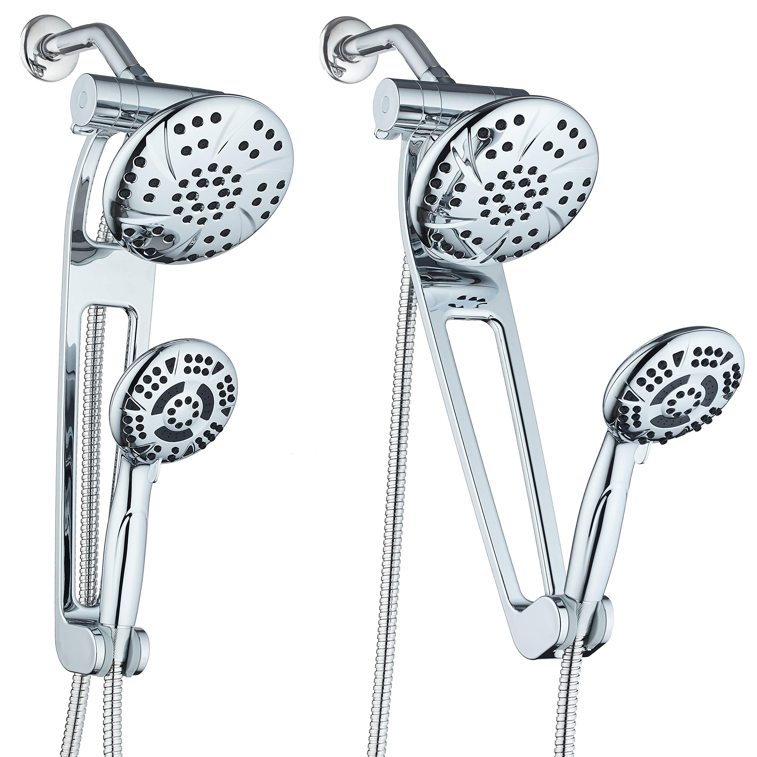 AQUABAR High-Pressure 3-way Shower Spa Combo with Adjustable 18'' Extension Arm for Easy Reach & Mobility! Enjoy Luxury 6'' Rain & Handheld Shower Head Separately or Together! All-Chrome Finish