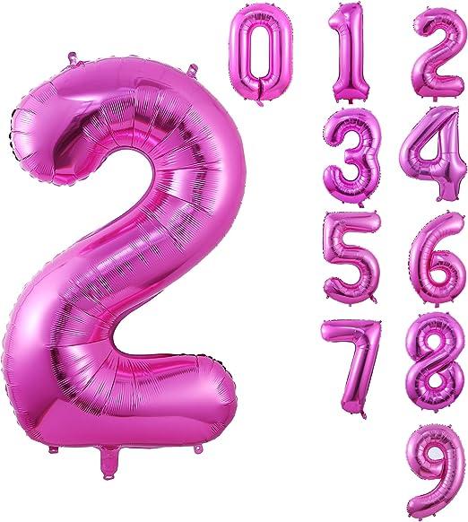 Amazon.com: Globo grande rosa de 40 pulgadas con número de ...