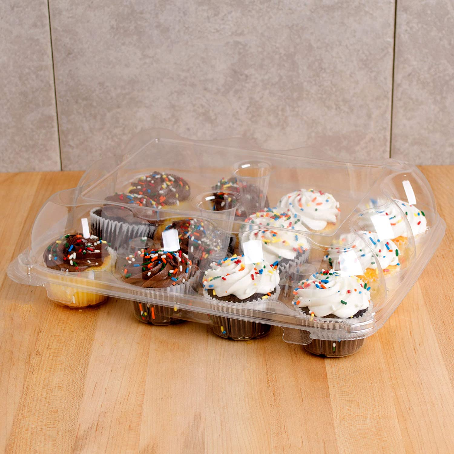 Cupcake Containers Plastic Disposable | 3 High Dome Cupcake Boxes 12 Compartment Cupcake Holders Disposable Cupcake Carrier | Dozen Cupcake Trays | Durable Cup Cake Muffin Packaging Transporter