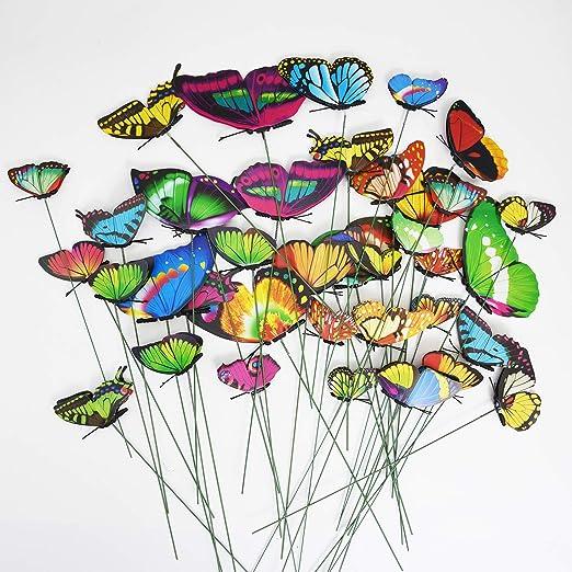 Seigle Living 40 Pcs Papillon Jardin Piquets Creative Décorations de pelouse extérieure Accessoires Double Ailes: Amazon.es: Jardín