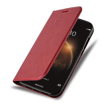 Cadorabo Funda Libro para Huawei Ascend G7 Plus / G8 / GX8 en Rojo Manzana – Cubierta Proteccíon con Cierre Magnético, Tarjetero y Función de Suporte ...