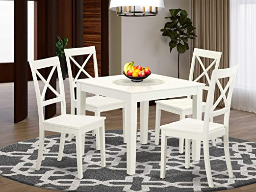 Amazon Com 5 Pc Small Kitchen Table Set And 4 Hard Wood Dining Chairs In Linen White Furniture Decor