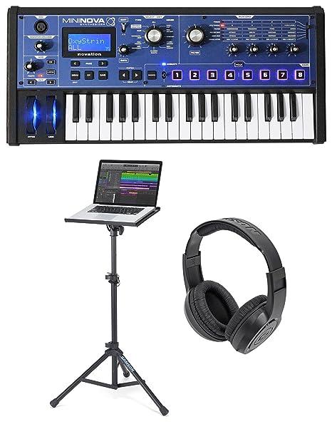 Novation MiniNova 37-key USB MIDI sintetizador teclado portátil + soporte + auriculares