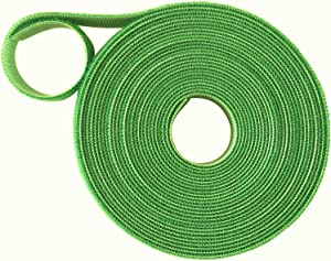 Multipurpose Reusable Plant Tie Self-Adhesive Hook Loop Wrap for Garden Support Cables Nylon and Polyester Organizer 10 Meters / 32 FEET ROLL Light Green