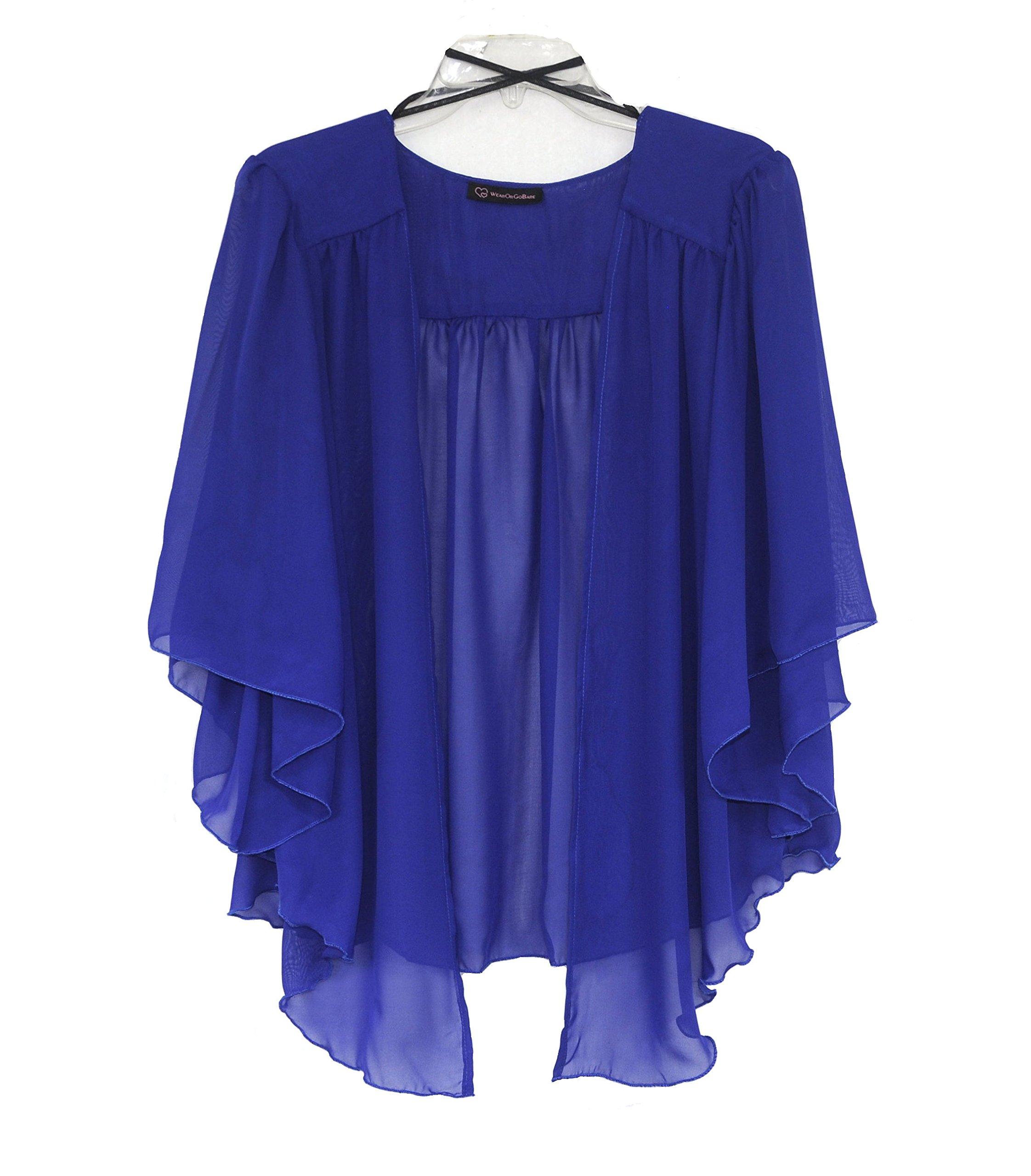 WearOrGoBare Women's Plus Size Cascading Chiffon Bolero Cardigan Shrug Top (4X, Royal)