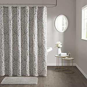 "Madison Park Odette Fabric Shower Curtain Luxe Textured Jacquard, Damask Medallion Machine Washable Modern Home Bathroom Decor, Bathtub Privacy Screen, 72"" x 72"", Silver"