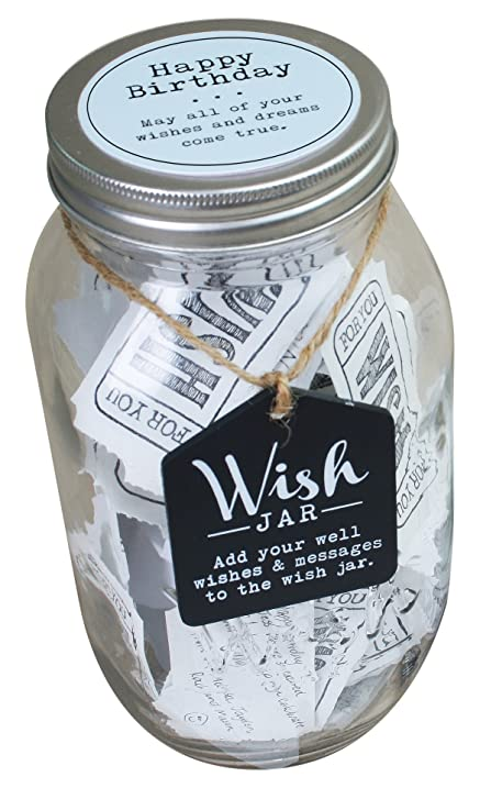 Amazon top shelf blue happy birthday wish jar personalized top shelf blue happy birthday wish jar personalized gift ideas for him unique and negle Gallery