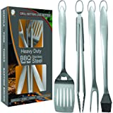 Heavy Duty BBQ Grill Tools Set   Stainless Steel Spatula, Fork, Tongs, & Basting Brush   Barbecue Utensil Set For Grilling   Grill Accessories for Barbeque by Acorn Ridge Perfect Grill Gift