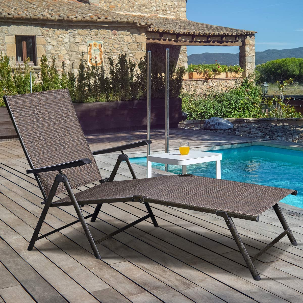 Casart Chaise Lounge Chair, Outdoor Adjustable Lounge Recliner for Poolside, Garden and Patio