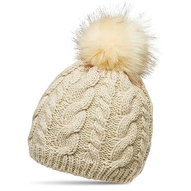 91cc2041ce1 CASPAR MU176 Modern Women Winter Cable Knit Bobble Hat with Large Faux Fur  Pom Pom