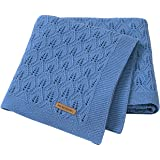 mimixiong 100% Cotton Baby Blanket Knit Cellular Toddler Blankets for Newbron Baby Teal 40x30 Inch