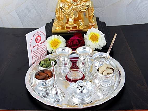 Vimal German Sliver Pooja Plate Medium Silver Pooja Thali