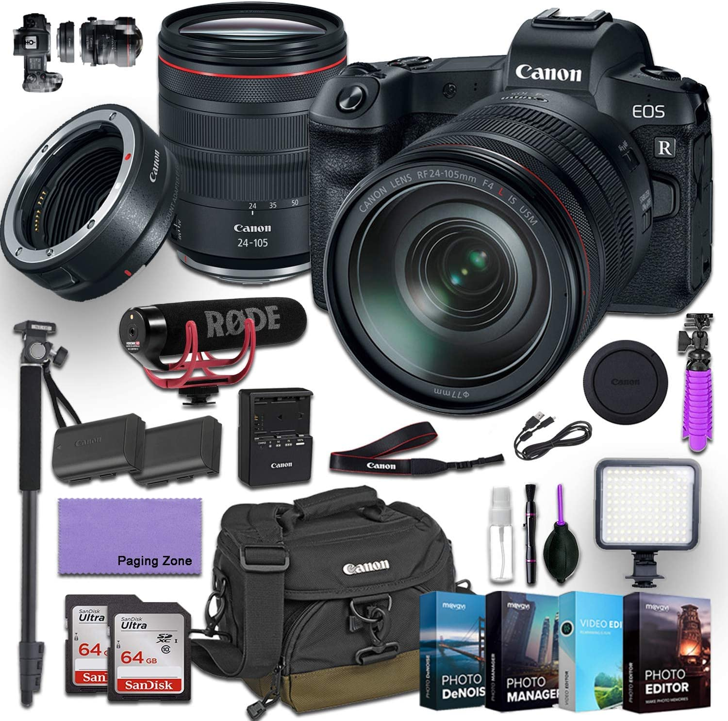 Canon Eos R Mirrorless Digital Camera With 24 105mm F 4l Is Usm Lens And Canon Mount Adapter Ef Eos R Kit Bundled With Deluxe Accessories Rode