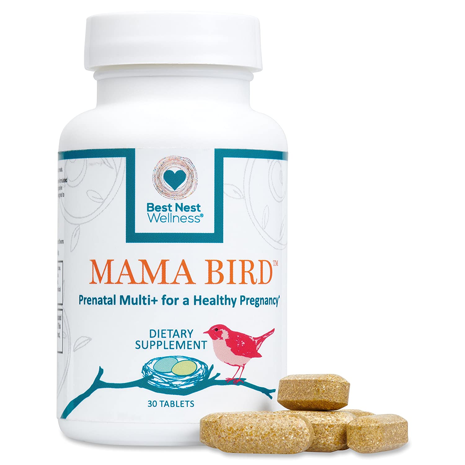 Mama Bird Prenatal Multivitamin, Methylfolate Folic Acid , Methylcobalamin B12 , 100 Natural Whole Food Organic Herbal Blend, Vegan, Once Daily Prenatal Vitamins, 30 Ct, Best Nest Wellness