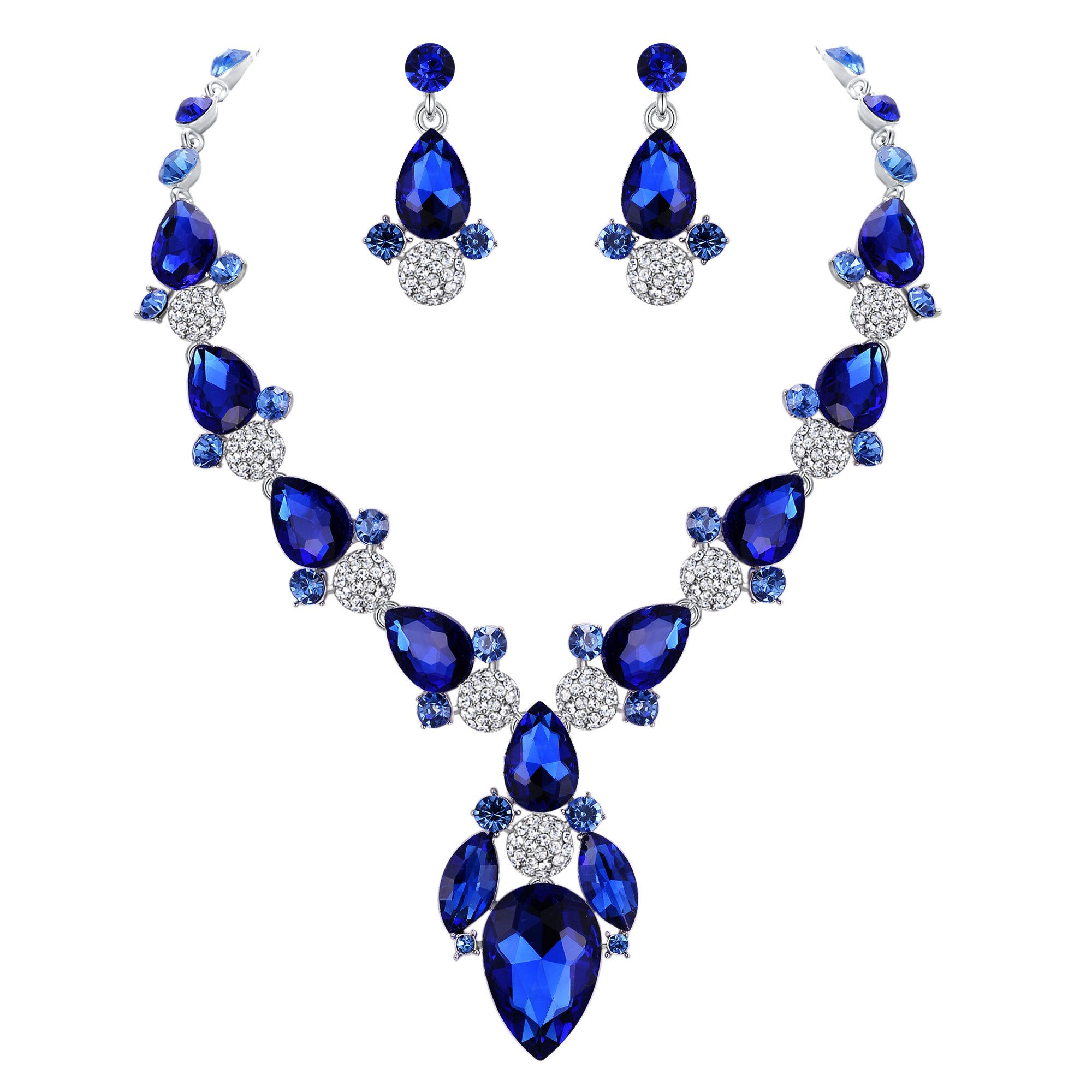 EVER FAITH Crystal Glamorous Floral Teardrop Necklace Earrings Set for Bride, Prom Blue Silver-Tone