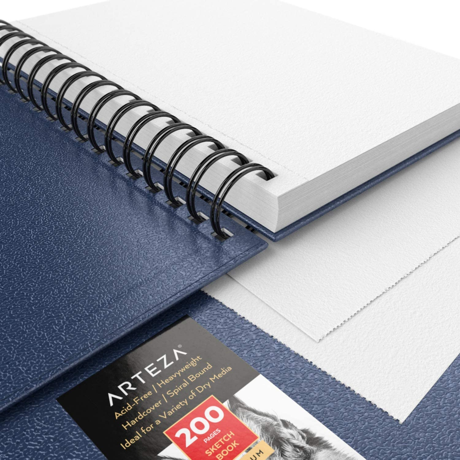 Use with Pencils Crayons /& Other Dry Media Spiral-Bound 5.5x8.5-inch 3-Pack Arteza Sketch Book 68 lb 100 GSM Pens Hardcover Sketchbook 300 Sheets Total Charcoal Blue Drawing Pads
