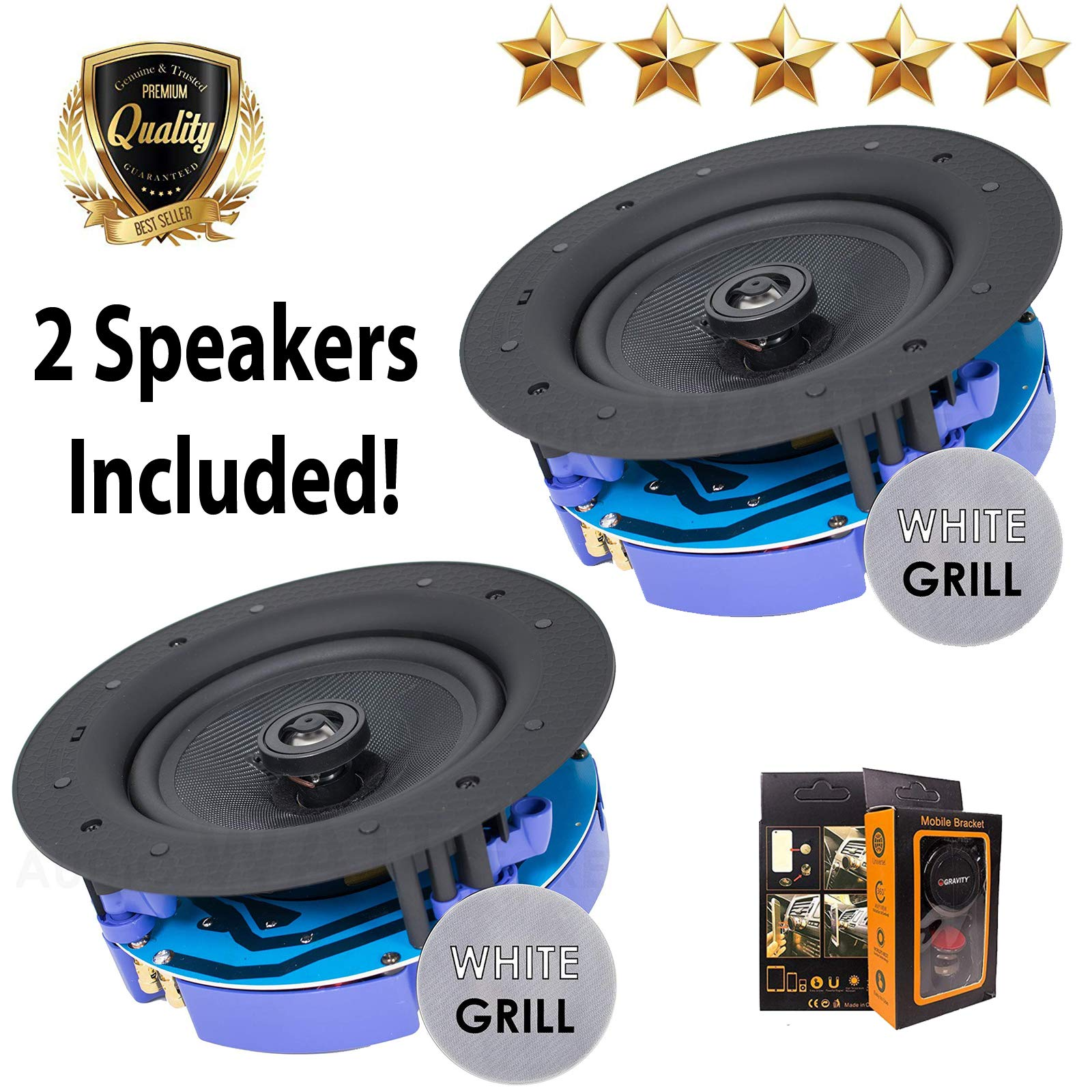 "Package: Gravity Premium SG-6Hi 6.5"" 400 Watts Flush Mount In-wall In-ceiling 2-Way Universal Home Speaker System with PP Cone Titanium Tweeter Stereo Sound (2 Speakers Included)"