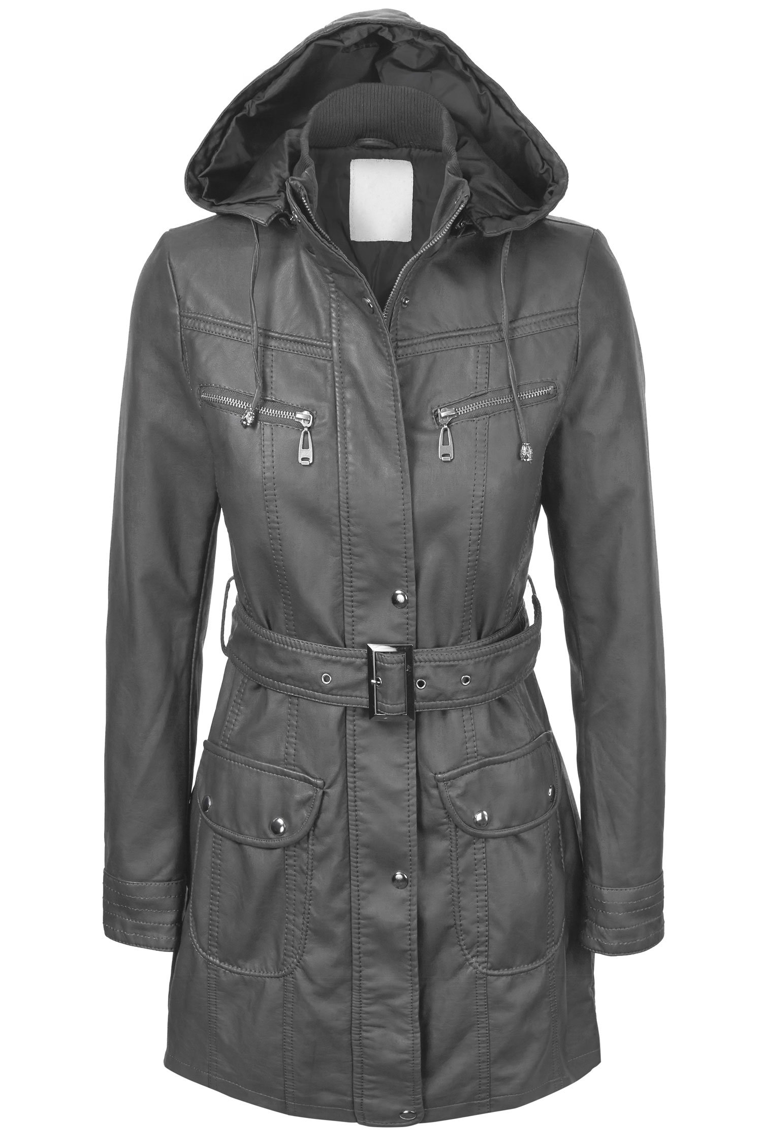 Lock and Love LL WJC741 Womens Hooded Faux Leather Trench Parka Coat L Gray