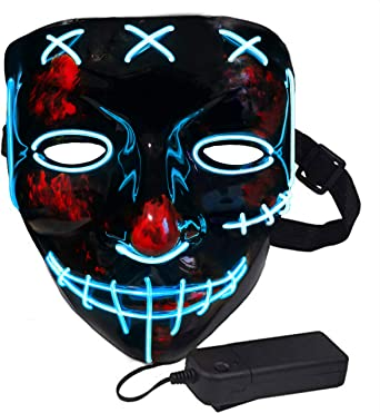 Halloween Light Up Mask Sinister Stitched LED Lighted Costume Mask Halloween, EDM, Cosplay, Rave, Party, Movie