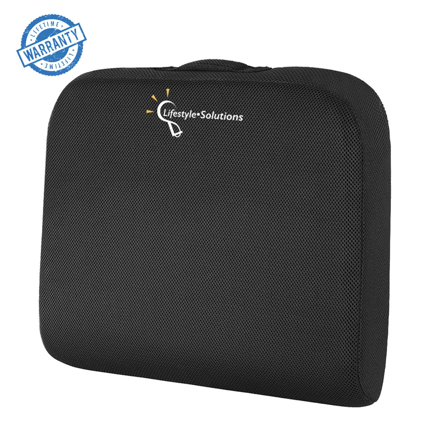 Large Seat Cushion with Carry Handle and Anti Slip Bottom, Memory Foam Seat Cushion for Office Chair , Wheelchairs, Truck Drivers, Gives Relief from Back Pain, Exclusive Carrying Bag by Lifestyle-Solutions