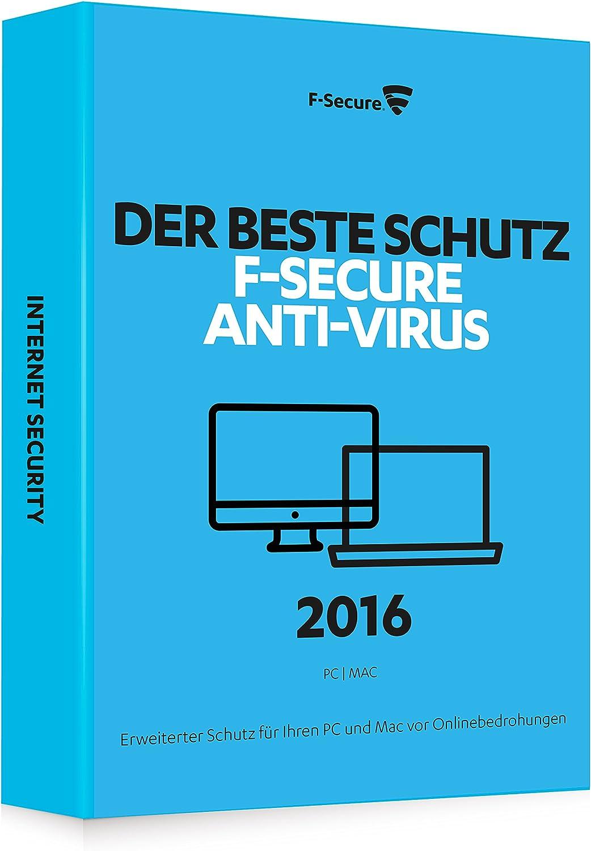 F-SECURE Anti-Virus 2016 3U Full - Seguridad y antivirus (Pentium 4, Windows 7 Enterprise, Windows 8, Windows Vista Home Premium, Windows 10 Education, Windows 7 Enterpr, Mac OS X 10.7 Lion, Mac