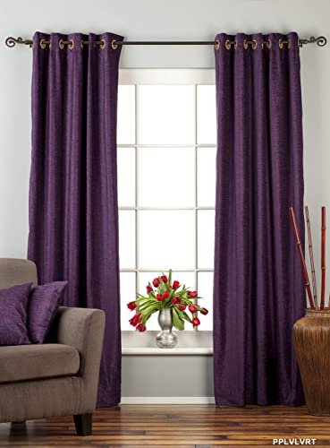 Indian Selections Lined-Purple Ring Grommet Top Velvet Curtain Drape – 60W x 120L – Piece