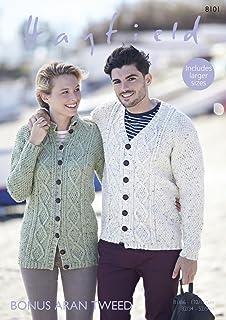 06e7bf429 Sirdar 8101 Knitting Pattern Womens Mens Cardigans in Hayfield Bonus Aran  Tweed