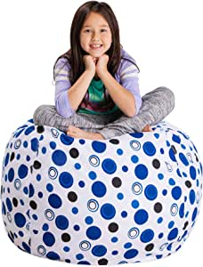 """Posh Stuffable Kids Stuffed Animal Storage Bean Bag Chair Cover - Childrens Toy Organizer, Large 38"""" - Canvas Bubbles Blue and White"""