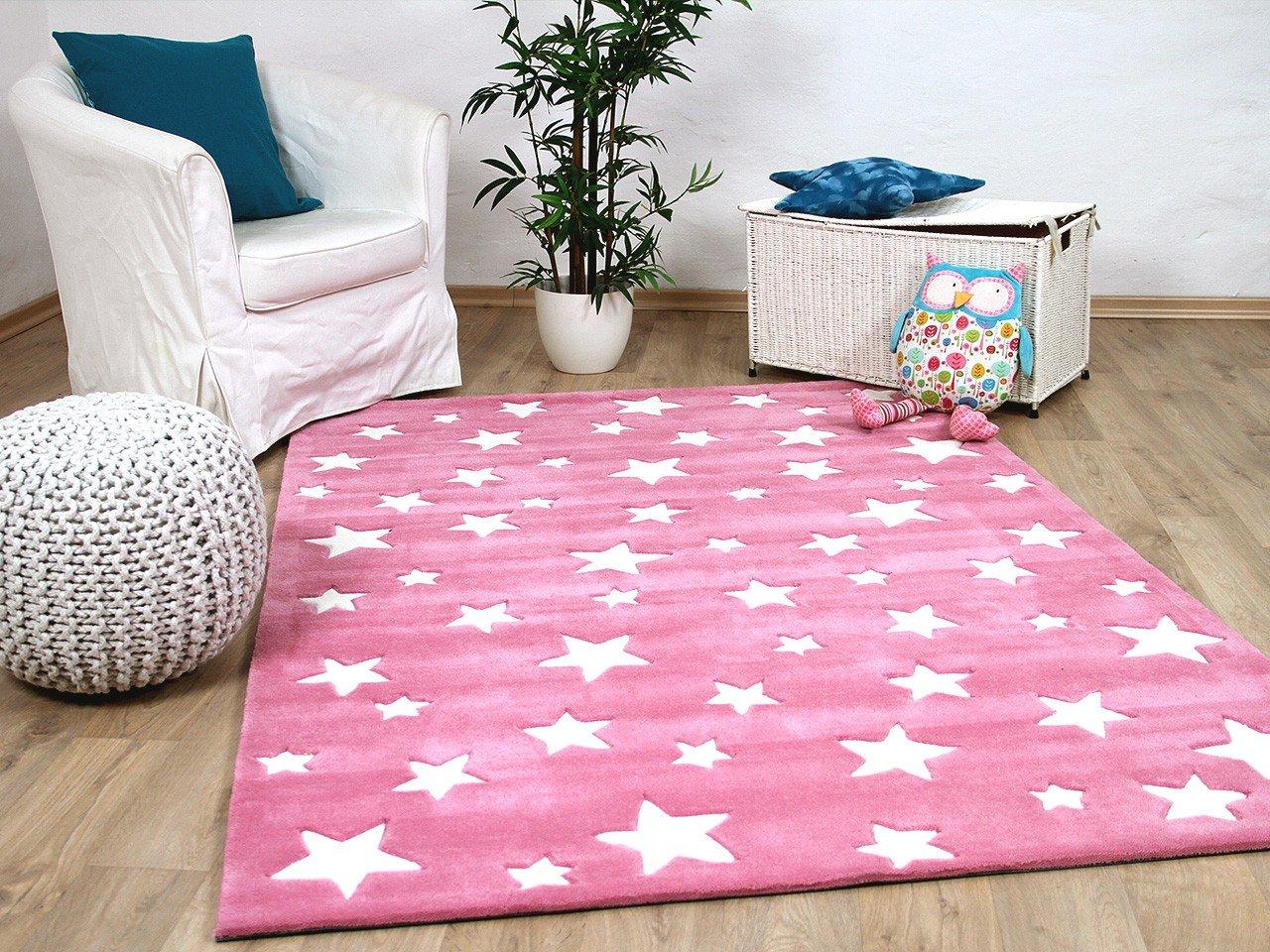 Lifestyle Kinderteppich Sterne Rosa Pink     Sofort Lieferbar