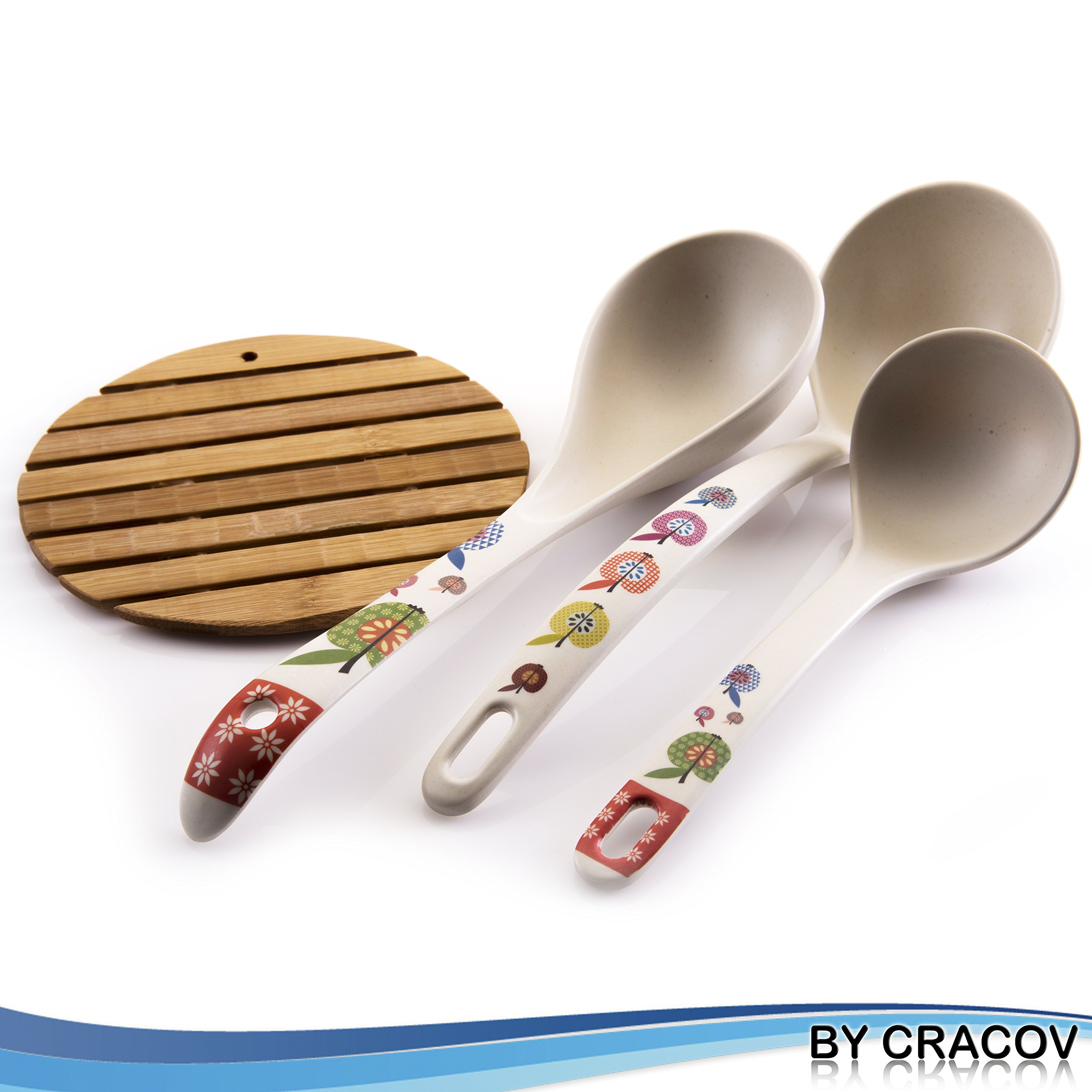Premium Bamboo Kitchen Ladles, All Natural, Made From 100%, Naturally Fallen Bamboo, Earth Friendly, Great For Soups & Sauces, Perfect Addition To Your Kitchen Utensil Collection, Bamboo Pad Included