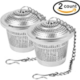 2PCS Premium Tea Filters, Perfect Stainless Steel Loose Leaf Tea Infuser Strainers, 1.8 Inch Tea Ball with Extended Chain