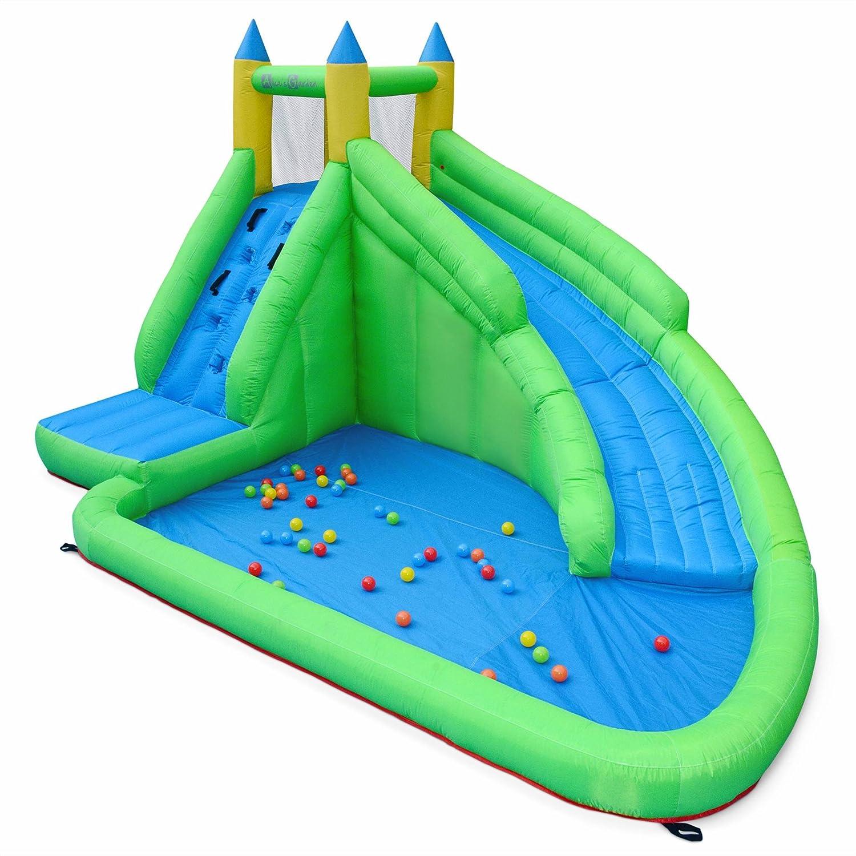 Alices Garden - Castillo hinchable, zona de juego, 2m para niño con tobogán acuático, piscina infantil y rocódromo - MONTMIRAIL