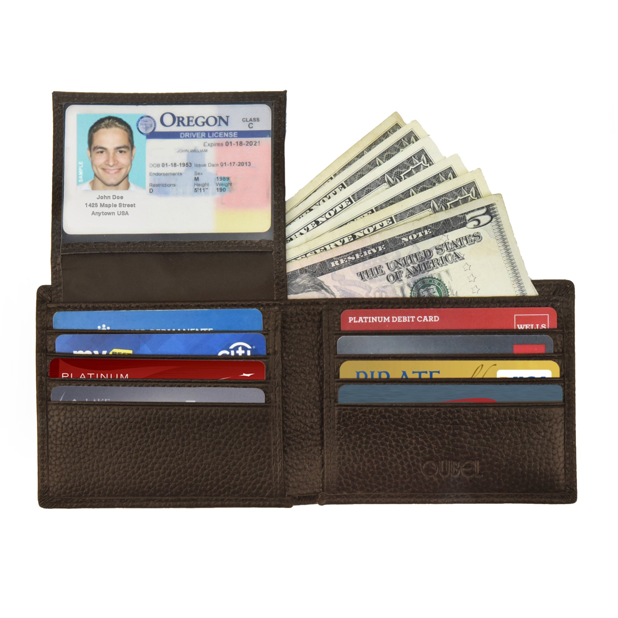 RFID Blocking Slim Bifold Genuine Leather Wallet for Men - Credit Card Protector by Qubel (Image #1)