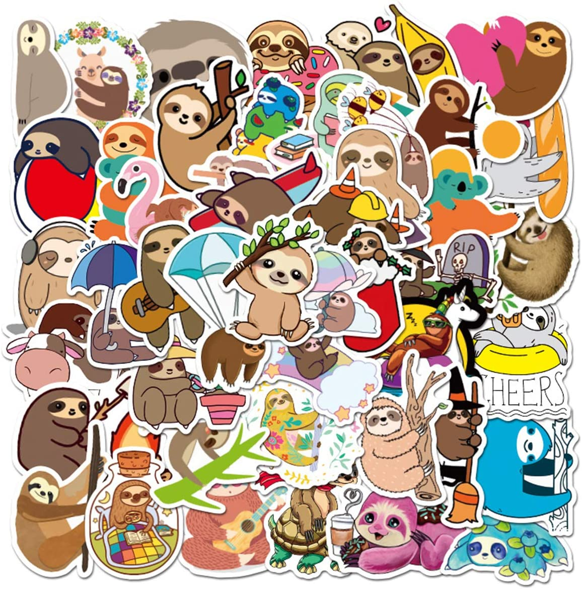 Sloth Stickers Pack for Water Bottle,Waterproof Vinyl Cute Stickers Perfect for Hydro Flask Laptop Phone Car Skateboard Travel Case Bicycle Bumper Snowboard Decor (Sloth 50 Pcs)