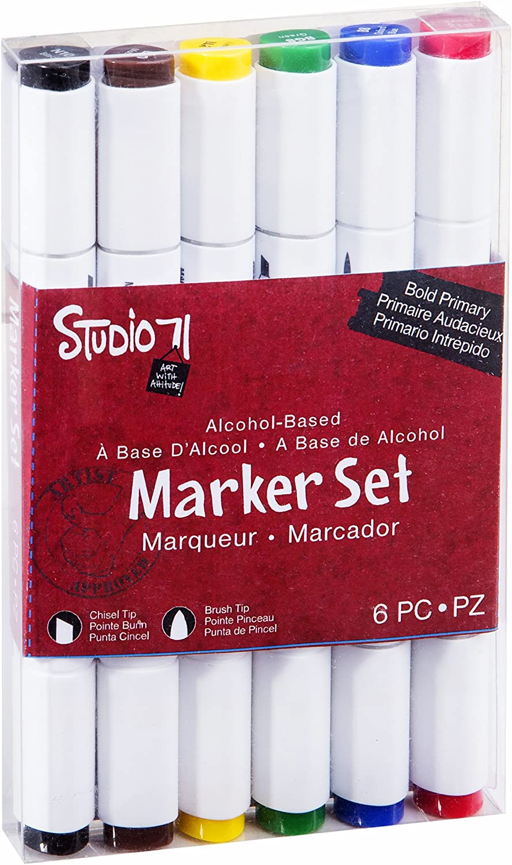 6 Pezzi Set da 6/Pezzi Set di 6 Bold Primaries Darice Studio 71/a Base di Alcool Gray