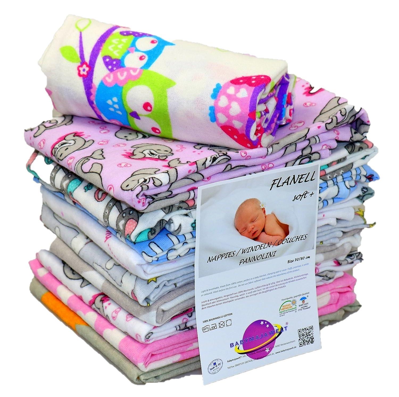 Babymajawelt® Molton Tücher 70/80cm , Wickelunterlage, Spucktuch, Babydecke- Eulen- 3Pack Limited