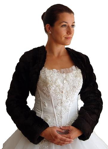 Novia Chaqueta de Bolero, piel de imitación de visón, manga larga