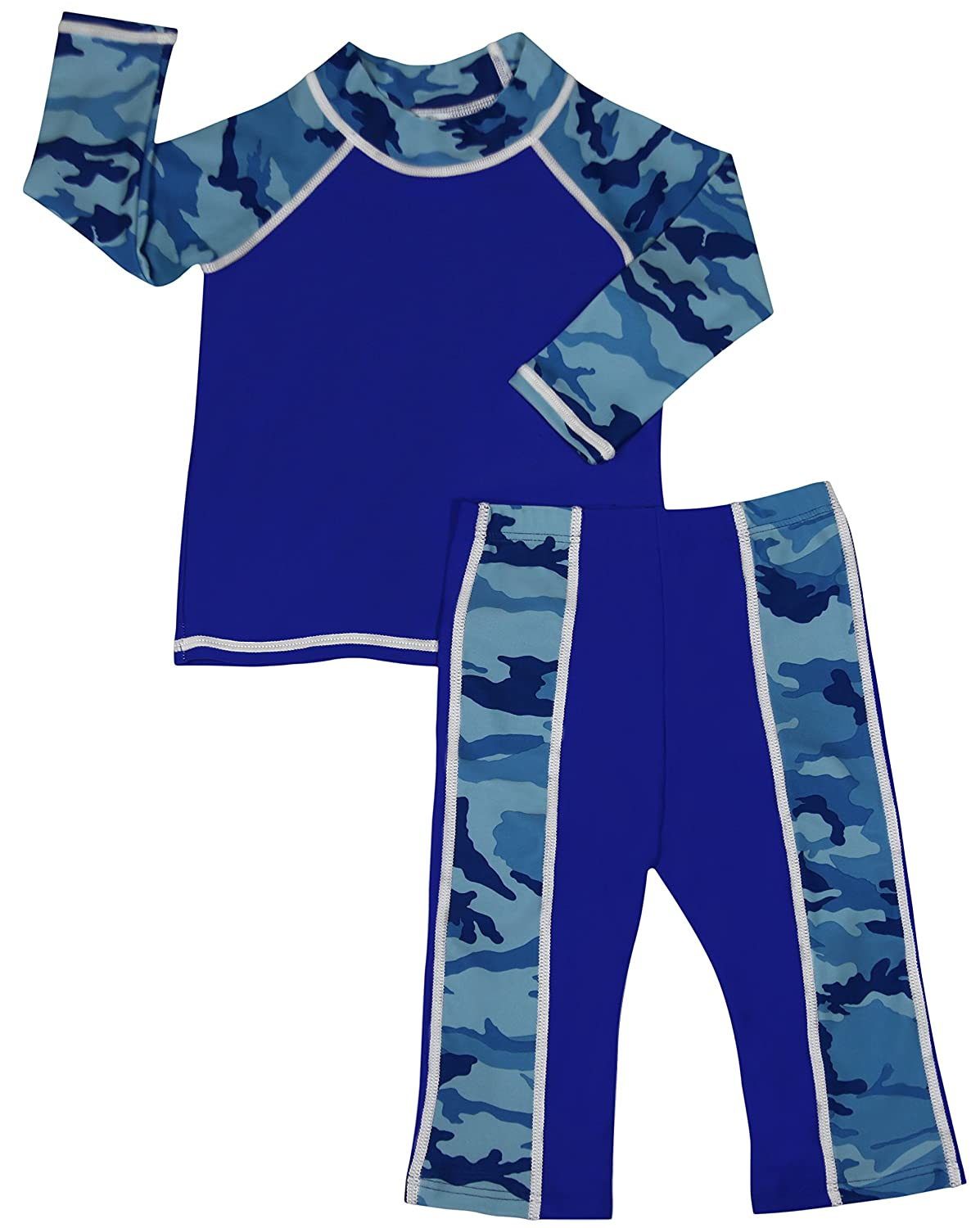 grUVywear UV Sun Protective Baby Boy 2 piece Long Sleeve Rash Guard & Pants Set UPF 50+ INF-P-B-LSSH