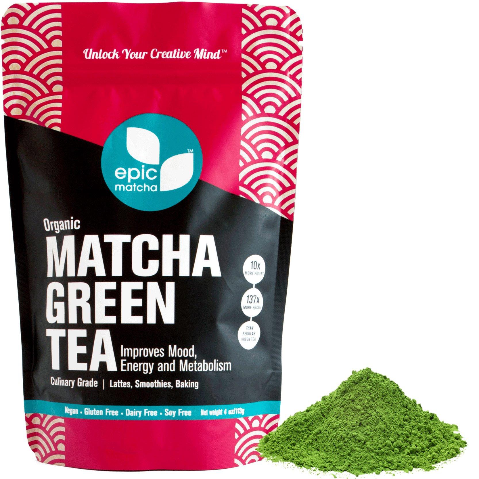 Epic Matcha Organic Matcha Green Tea Powder - 4oz/113g (48 servings) - Culinary Grade, Non-GMO, Vegan, Unsweetened by Epic Matcha