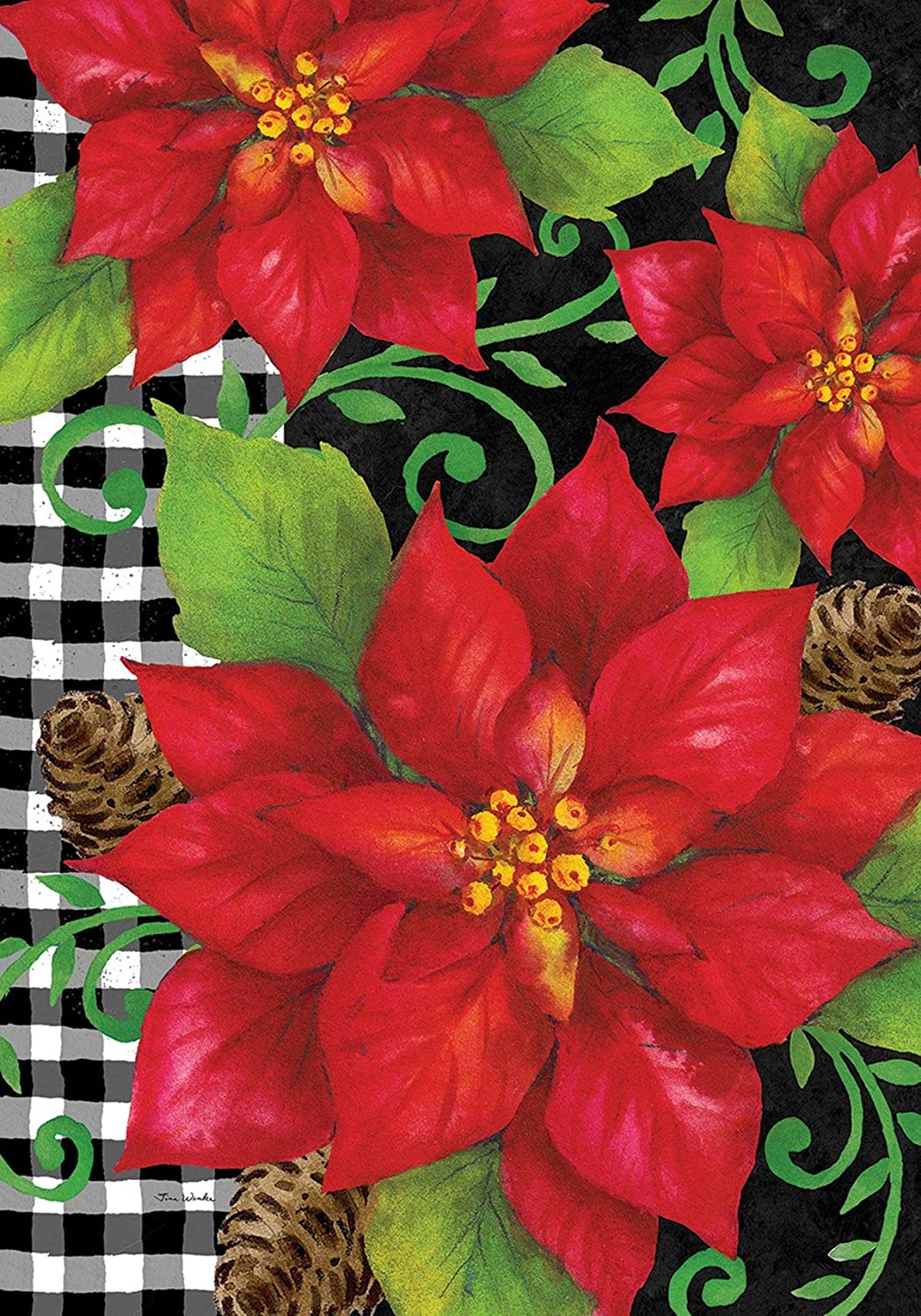 Custom Decor Poinsettia Check - Standard Size, Decorative Double Sided, Licensed and Copyrighted Flag - Printed in The USA Inc. - 28 Inch X 40 Inch Approx. Size