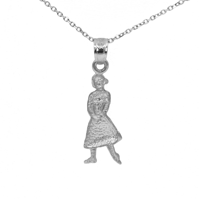 Ice on Fire Jewelry 10k White Gold Ballerina Pendant