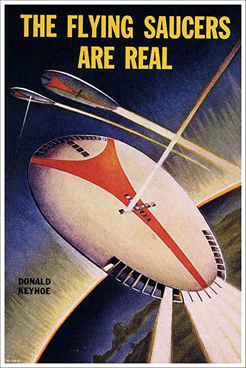 Flying Saucers Are Real Vintage Sci Fi Fantasy Poster